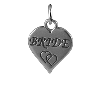 Sterling Silver Bride Heart Charm