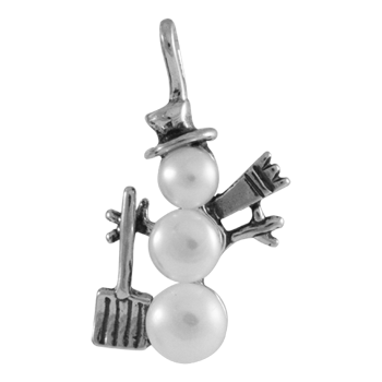 Sterling Silver Snowman With Shovel Charm