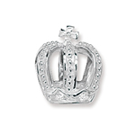 silver crystal crown charm bead