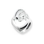 silver heart charm bead
