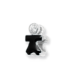 Sterling Silver Crystal and Black Enamel Girl Bead