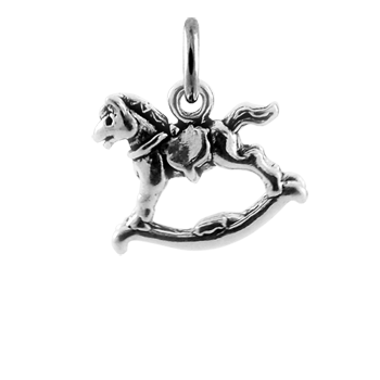 Sterling Silver 3D Traditional Rocking Horse Charm