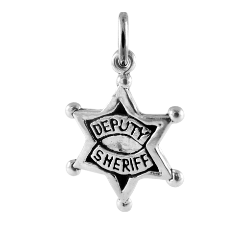 Sterling Silver Sheriff Badge Charm
