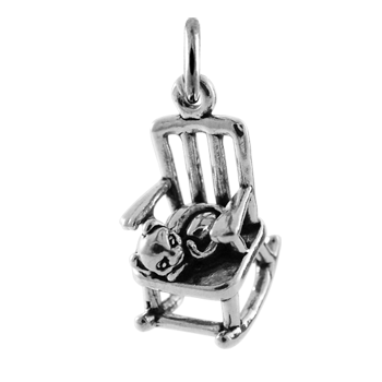Sterling Silver Rocking Chair with Cat Charm