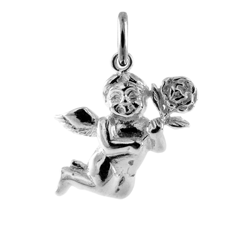 Sterling Silver Cherub with Rose Charm