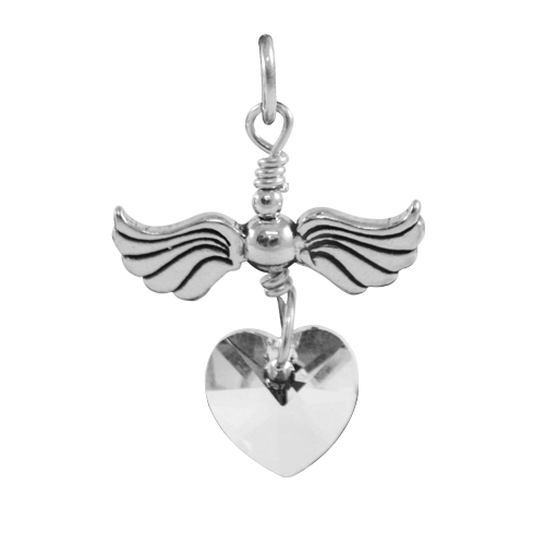 Sterling Silver Love Flight April Birthstone Charm
