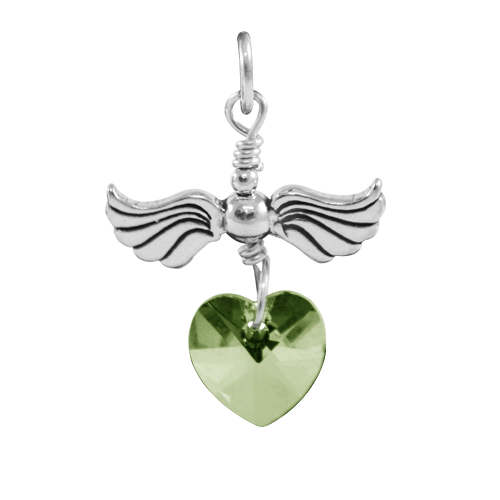 Sterling Silver Love Flight August Birthstone Charm
