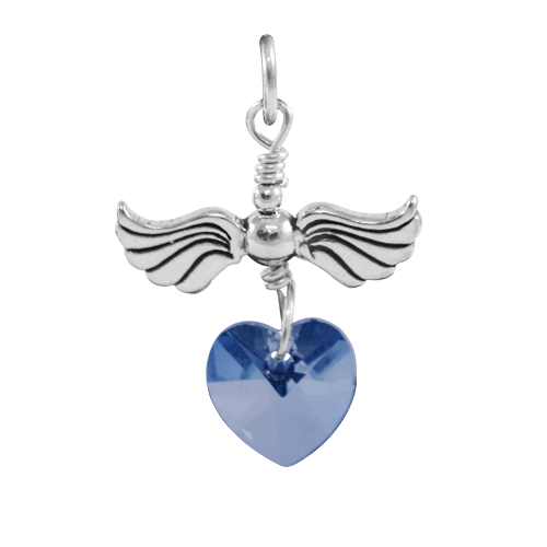 Sterling Silver Love Flight September Birthstone Charm