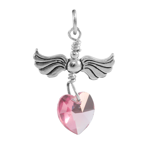 Sterling Silver Love Flight October Birthstone Charm
