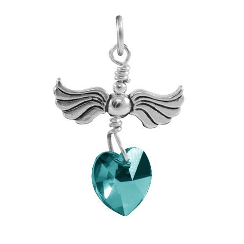 Sterling Silver Love Flight December Birthstone Charm