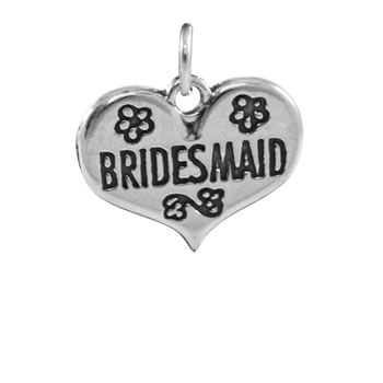 Sterling Silver Heart with Bridesmaid Charm