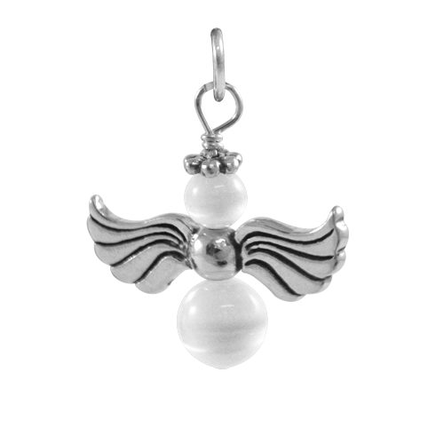 Sterling Silver White Beaded Angel Charm