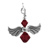 Sterling Silver Amethyst Crystal Angel Charm