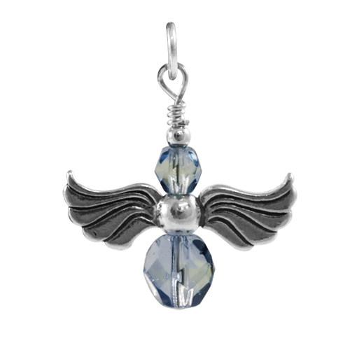 Sterling Silver Sapphire and Peridot Crystal Angel Charm