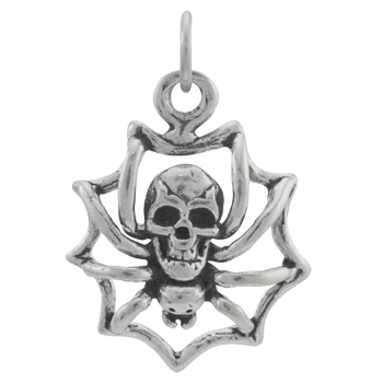 Sterling Silver Skull-Backed Spider Charm