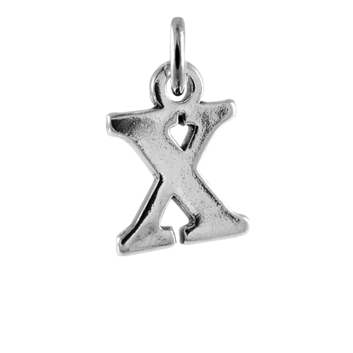 Sterling Silver Alphabet Letter X Charm