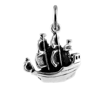 Sterling Silver Pirate Galleon Charm
