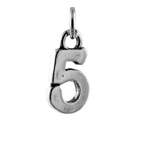 Sterling Silver Number 5 Charm
