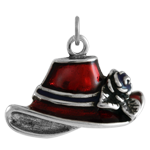 Sterling Silver Red Enamel Hat Charm
