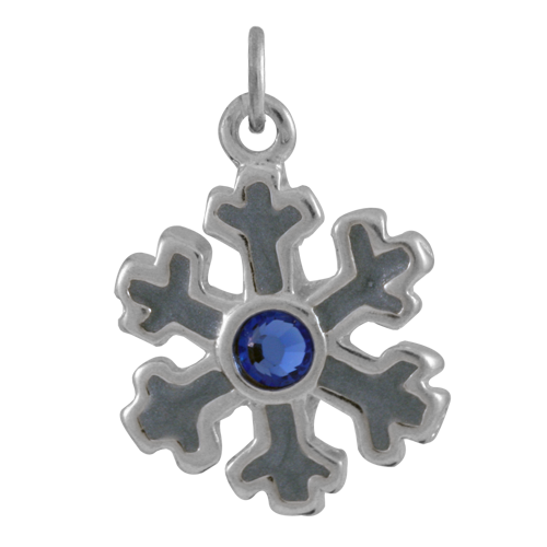 Sterling Silver Enamel and Crystal Snowflake Charm