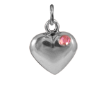 Sterling Silver Pink Crystal Heart Charm