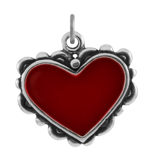 Sterling Silver and Enamel Heart Charm
