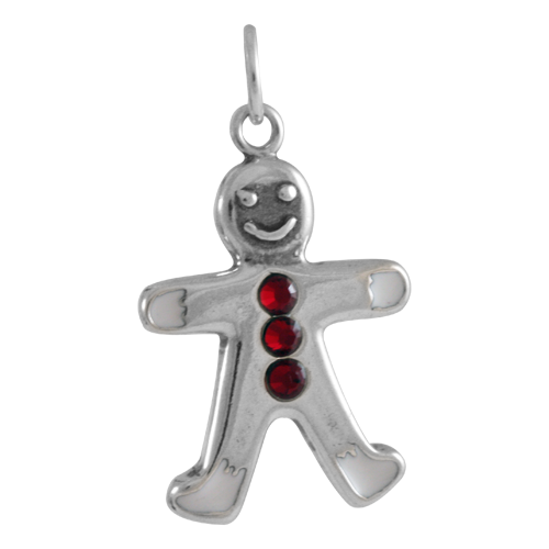 Sterling Silver Crystal Gingerbread Man Charm