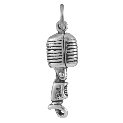 Sterling Silver Classic Microphone Charm