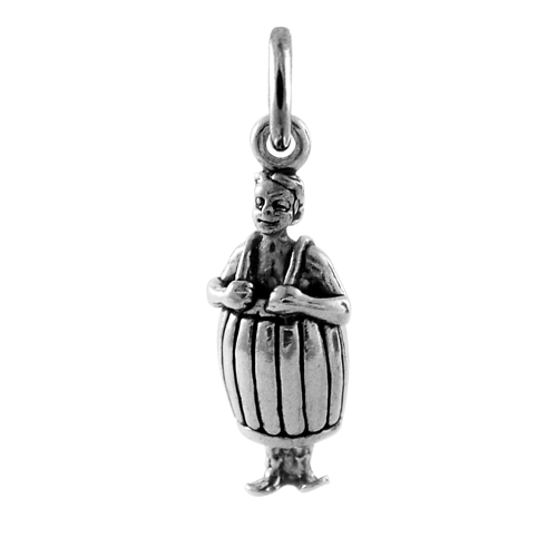 Sterling Silver Man in Barrel Charm