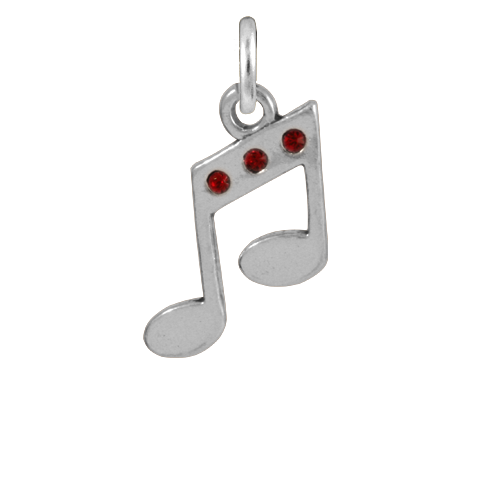 Sterling Silver & Crystal Musical Note Charm