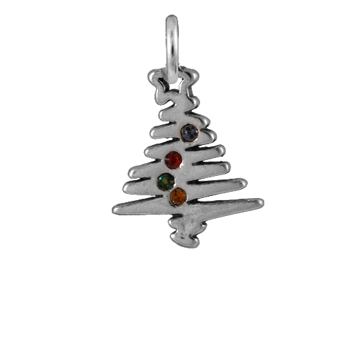 Sterling Silver Crystal Christmas Tree Charm