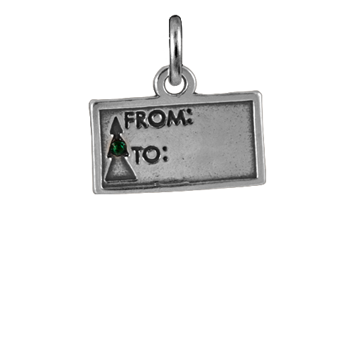 Sterling Silver Gift Tag With Crystal Charm