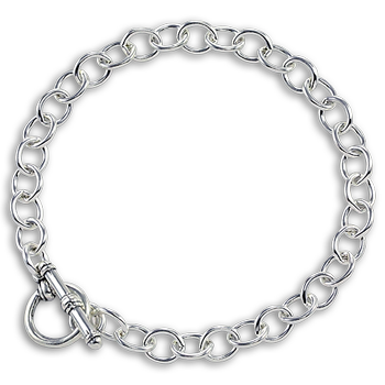 Sterling Silver Circle Toggle Charm Bracelet