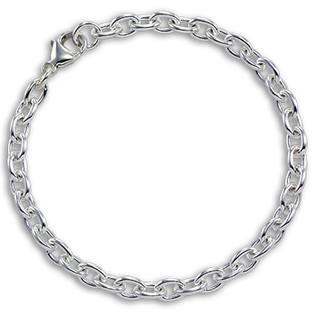 Sterling Silver Cable Chain Bracelet with Clasp