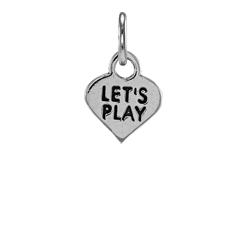 Sterling Silver Let's Play Heart Charm