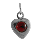 Sterling Silver Red Crystal Heart Charm