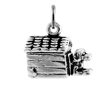 Sterling Silver Doghouse Kennel Charm