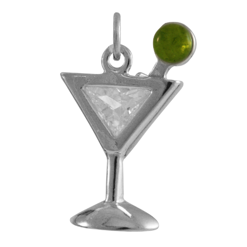 sterling silver martini glass charm