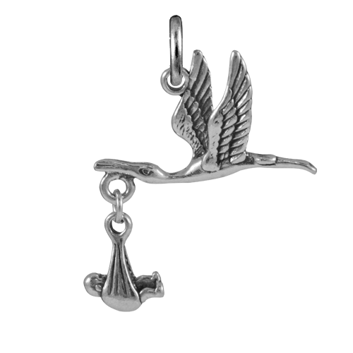 Sterling Silver Moveable Stork and Baby Charm