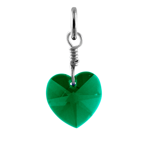Sterling Silver May Emerald Crystal Heart