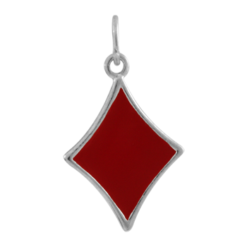 Sterling Silver and Enamel Diamond Charm