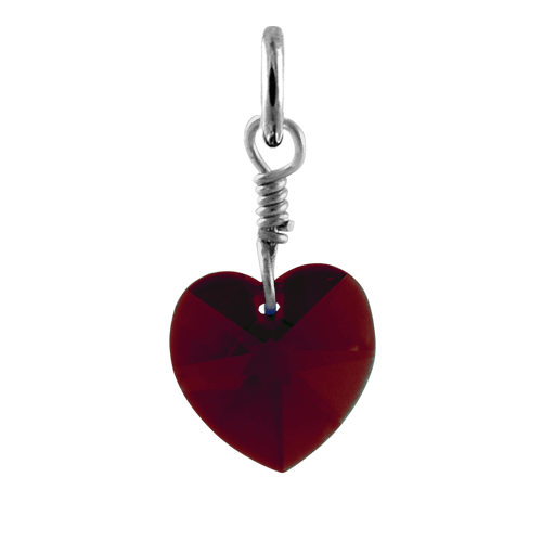 Sterling Silver January Garnet Swarovski Crystal Heart