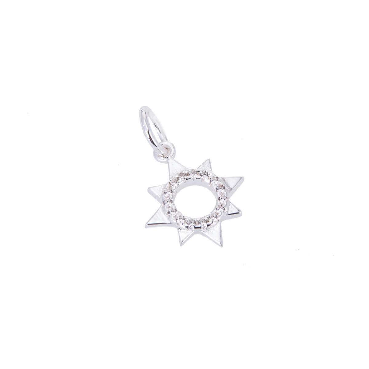 Sterling Silver & CZ Crystal Open Sun Charm