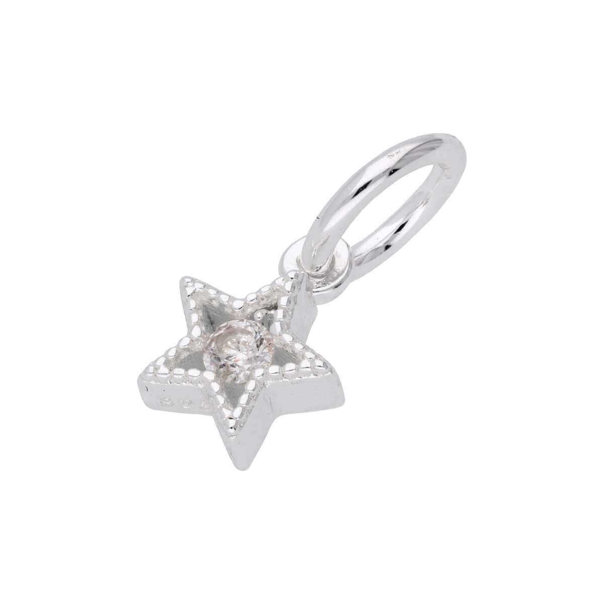 Tiny Sterling Silver & CZ Crystal Star Charm
