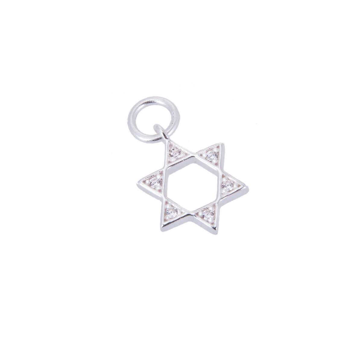 Sterling Silver & CZ Crystal Star of David Charm