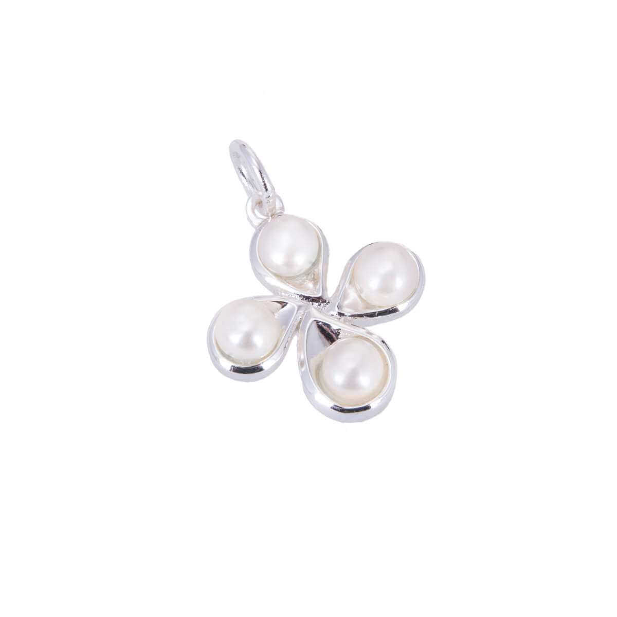 Sterling Silver & Pearl Four Leaf Clover Charm