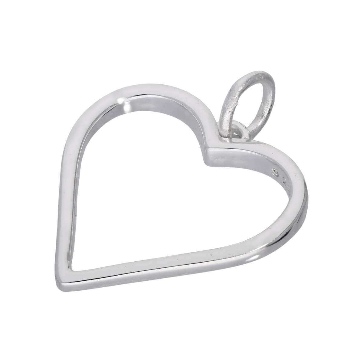 Sterling Silver Large Open Heart Outline Charm