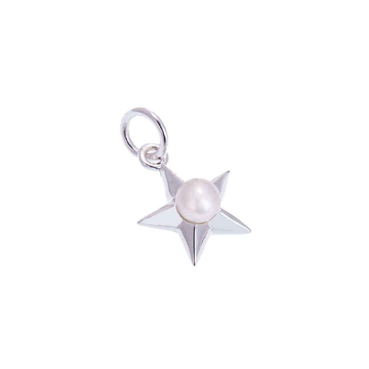 Sterling Silver Star Charm with Pearl