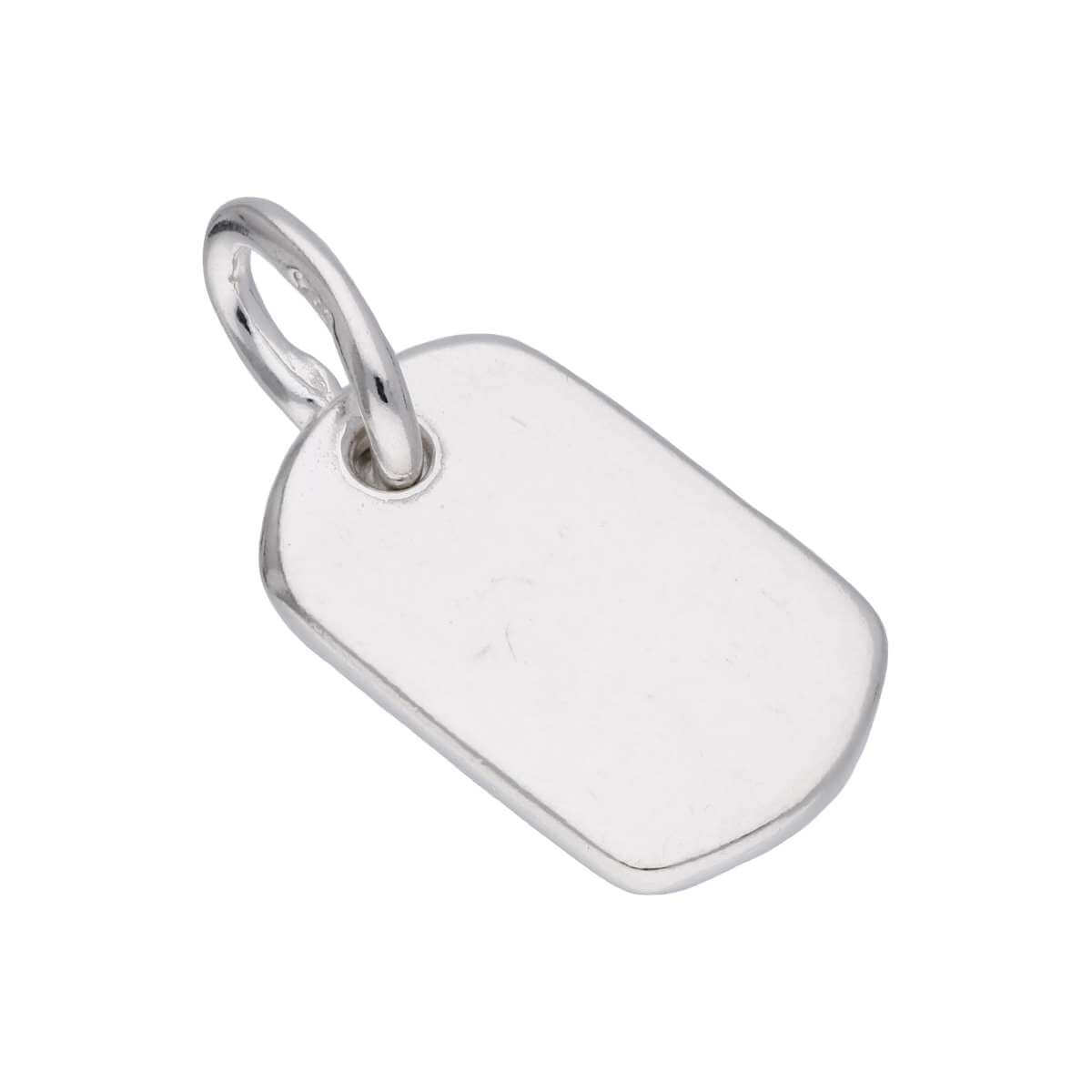 Tiny Sterling Silver Rectangular Engravable Dog Tag Charm