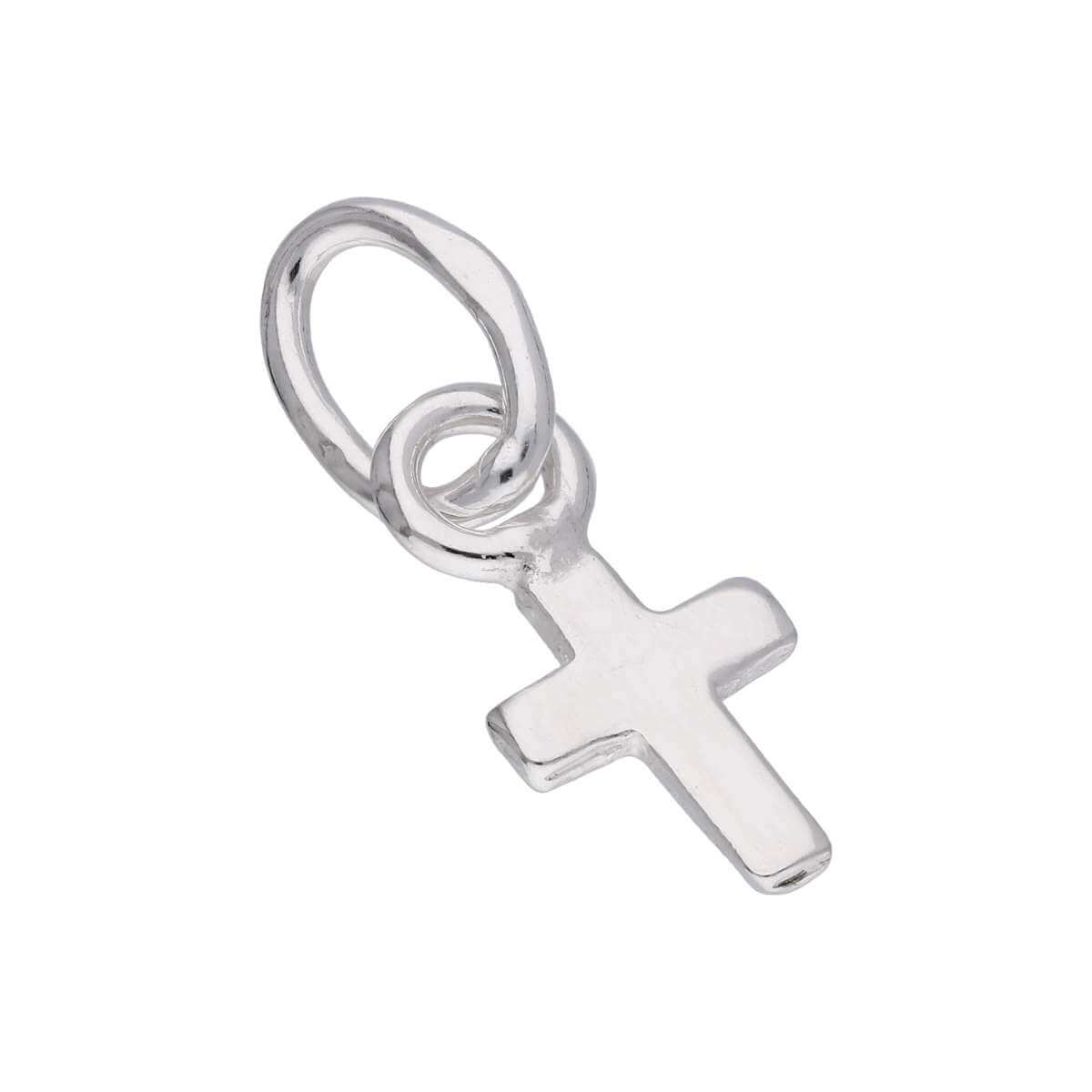 Tiny Sterling Silver Small Plain Cross Charm